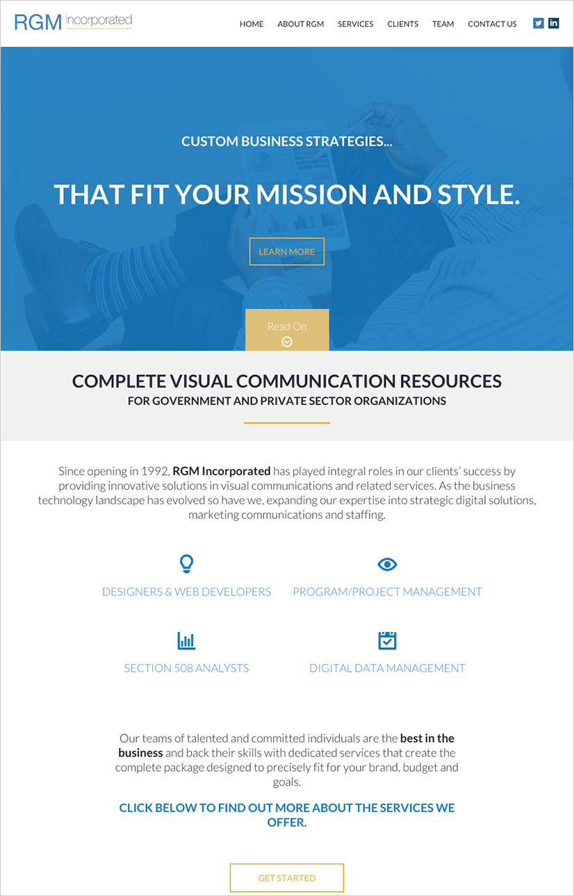 RGM Incorporated Website Home Page