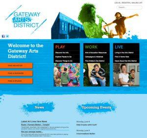 Website for Gateway Arts District