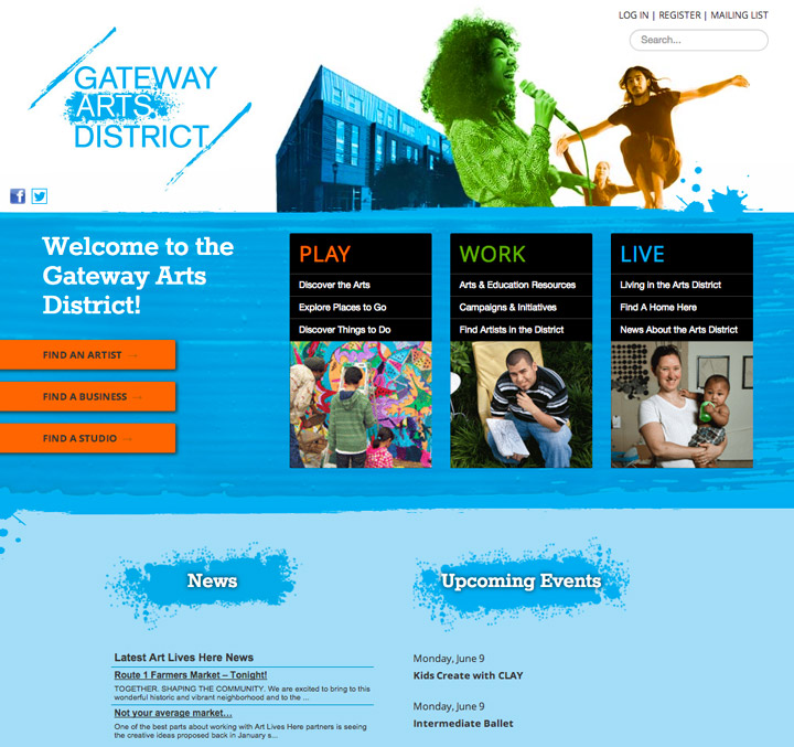 Website for Gateway Arts District