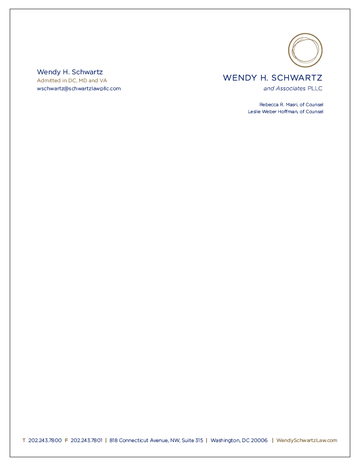 Wendy H. Schwartz Law Letterhead