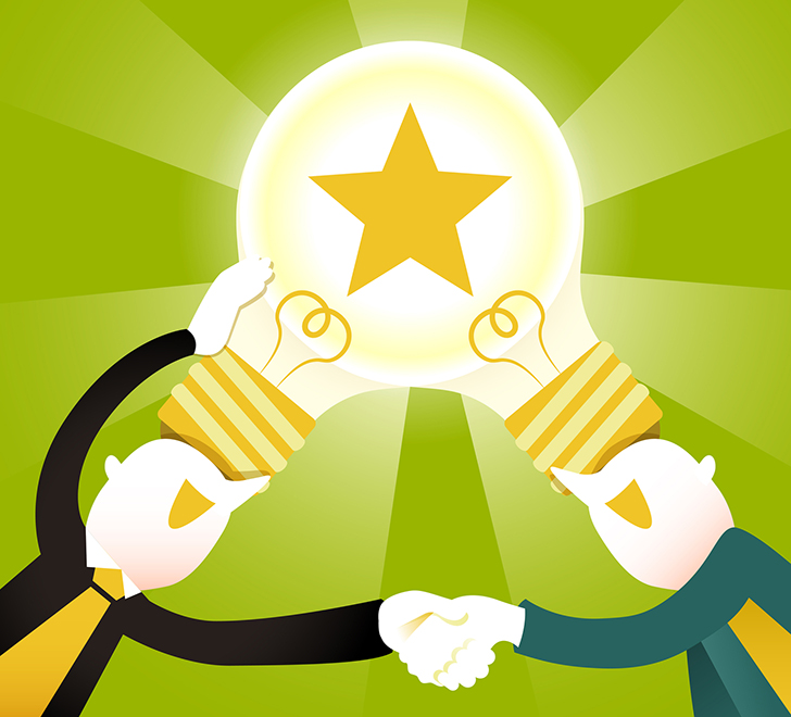 two people shaking hands with lightbulb connecting their heads