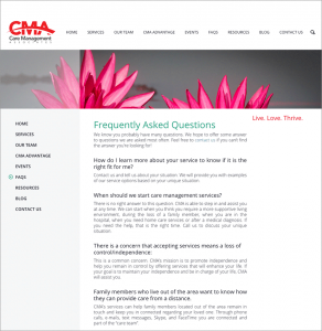 Care Management Associates Website Frequently Asked Questions Page