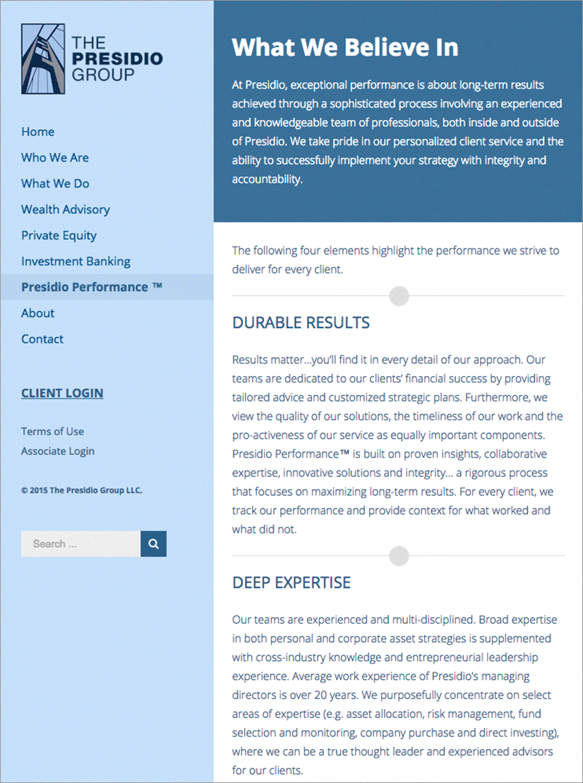 Presidio Group Website Performance Page