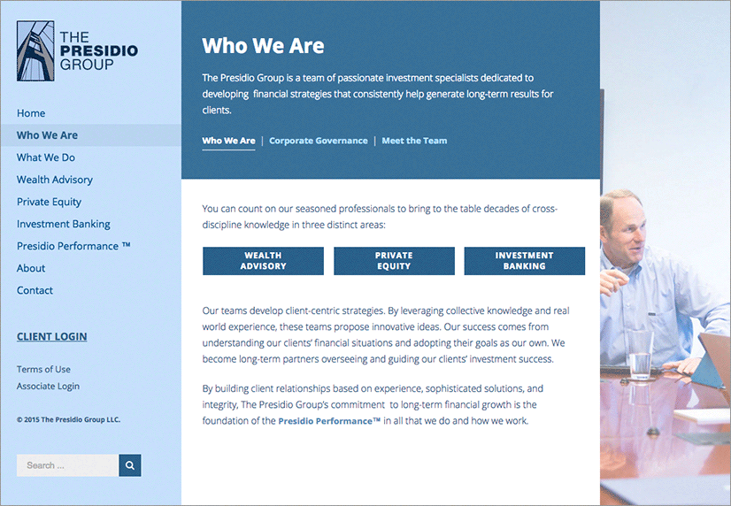 Presidio Group Website Who We Are page