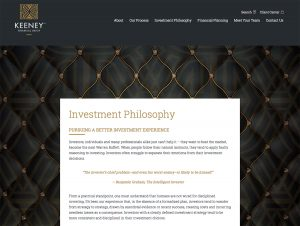 Rebrand and Redesign of Website for Keeney Financial Group - Investment Philosophy page