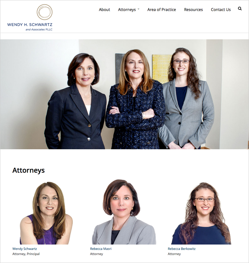Wendy Schwartz law firm website attorneys page