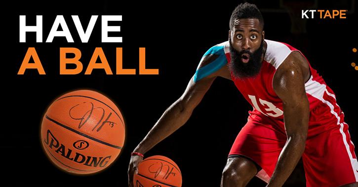 Social Media Post for KT Tape promoting James Harden signed basketball giveaway