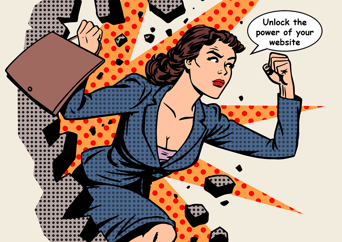 business woman breaks through wall unlocking the power of websites for RIAs and law firms