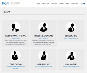 RGM Incorporated Website Team Page