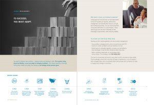Brochure interior spread for Financial Services Advisory