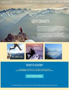 Website home page for Highline Wealth Managemenet