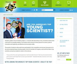 Website with sample webpage for Discovery Education