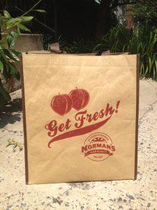 Get Fresh! tagline and Norman's Farm Market logo on reusable shopping bag
