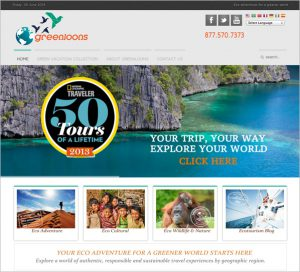 Website for Greenloons eco-travel