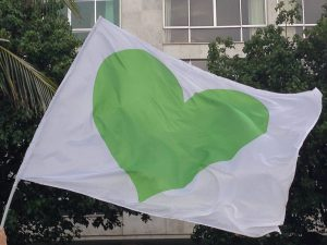 Flag with green heart at the Climate Summit March