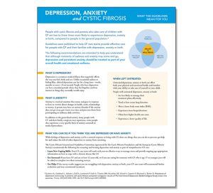 Cystic Fibrosis Foundation Patient Fact Sheet: Screening for Depression and Anxiety