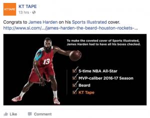 James Harden Facebook social media post